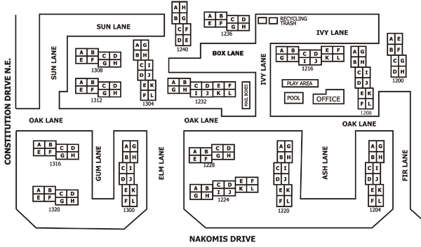 map of buildings at Greenbriar Townhouse Cooperative